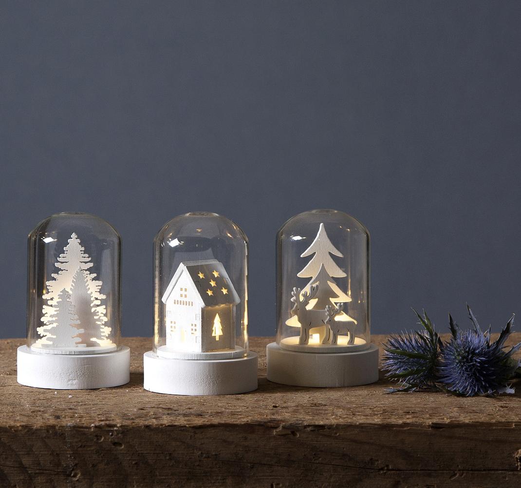 LED Glaskuppel Glashaube 3er Set Weihnachten Landschaft weiß ...