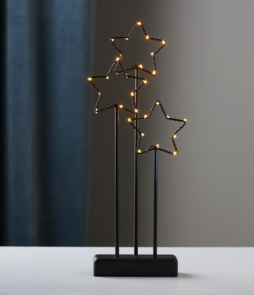 LED Stehleuchte 3er Stern Metall schwarz Batteriebetrieb Timer Fensterlicht