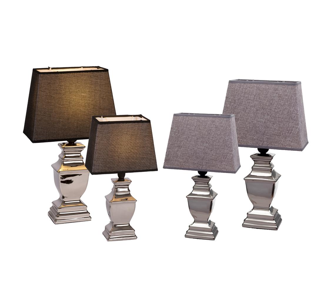 Tischlampe Lampe Keramik silber Lampenschirm grau schwarz Stehlampe ...